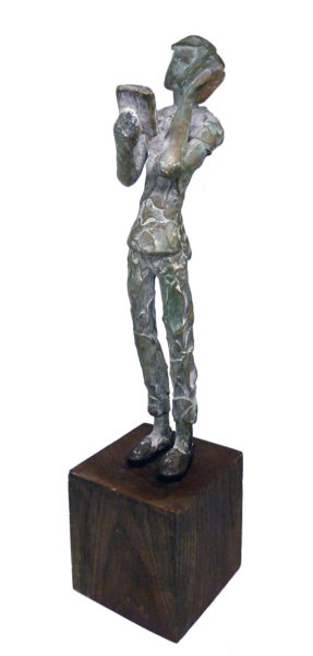 12 x 3 x 3.5 inches and base 4 x 4 x 4 inches Bronze
