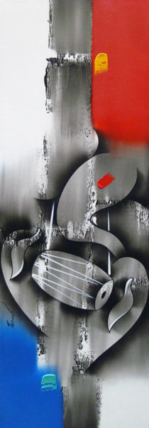 Musical Ganesha 36 x 12 inches Acrylic on canvas 1